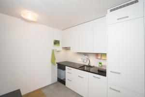 Küche/Küchenzeile in der Unterkunft Chesa Quadrella jedes Zimmer mit Küchenzeile