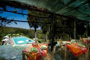 A view of the pool at Castello Di Gargonza or nearby