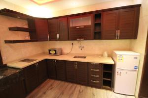 A cozinha ou cozinha compacta de Shagan Aparthotel