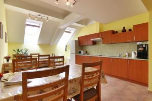 Kuchyň nebo kuchyňský kout v ubytování Penzion U Zamku