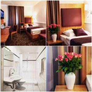 Een bed of bedden in een kamer bij Hotel Niederrad