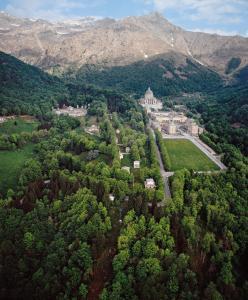A bird's-eye view of Santuario di Oropa