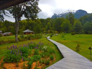 A garden outside Peuma Lodge Patagonia