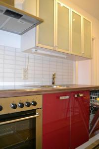 Küche/Küchenzeile in der Unterkunft Ferienwohnung Schleussig