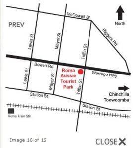 The floor plan of Roma Aussie Tourist Park