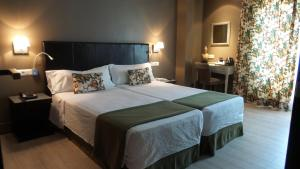 A bed or beds in a room at Hotel Moderno Puerta del Sol
