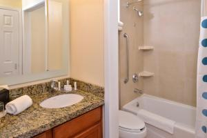 A bathroom at TownePlace Suites Sacramento Cal Expo