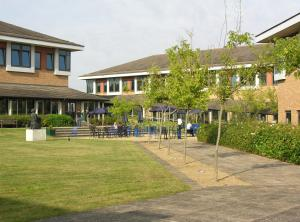 A garden outside Kents Hill Park