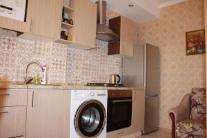 Кухня или мини-кухня в Apartments on Molodogvardeyskaya