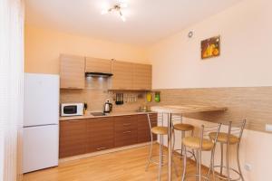 Кухня или мини-кухня в Apartments on Stepana Razina 107