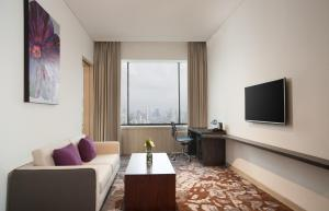 A seating area at Four Points by Sheraton Jakarta Thamrin