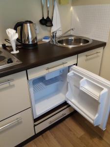 A kitchen or kitchenette at Apartment na Stanislavskogo