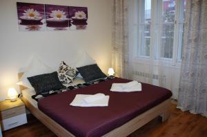 Letto o letti in una camera di Spacious Prague View Apartment