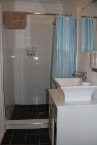 A bathroom at Alpine Heritage Motel