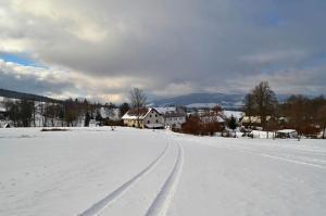 Chalupa u pramene зимой