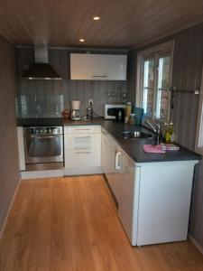 A kitchen or kitchenette at Sponavik Camping