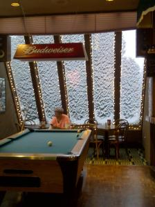 A pool table at Cascades Lodge