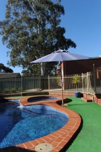 The swimming pool at or near Golden Reef Motor Inn