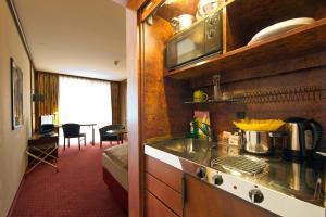 A kitchen or kitchenette at Living Hotel Weißensee