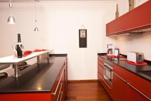 Küche/Küchenzeile in der Unterkunft Wohnung Strandallee