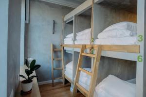 Двухъярусная кровать или двухъярусные кровати в номере Джедай Хостел