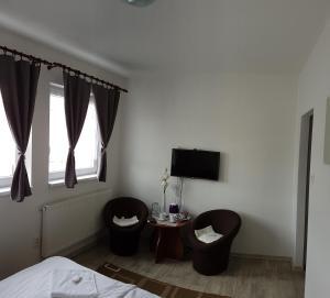 Televízia a/alebo spoločenská miestnosť v ubytovaní Penzion Maja