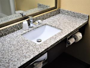 A bathroom at Sigma Inn & Suites