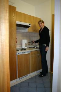 A kitchen or kitchenette at Appartement Hotel Finkenhof