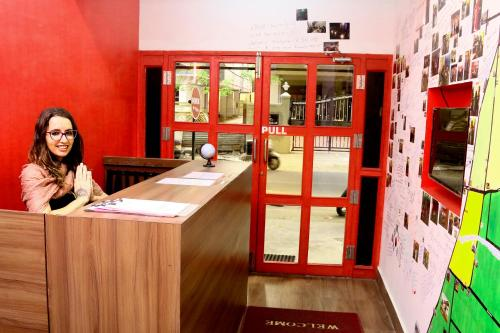 The lobby or reception area at Red Lollipop Hostel Chennai