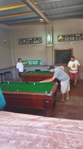 A billiards table at Joes Waterhole Hotel