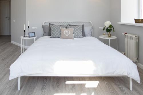 Кровать или кровати в номере Сердце Петербурга