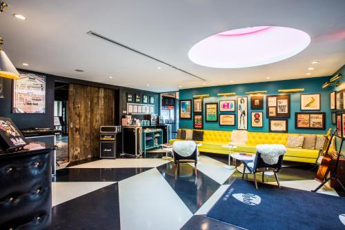 The lobby or reception area at The Verb Hotel