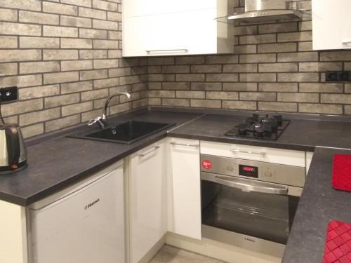 Кухня или мини-кухня в Apartment on Litovskii Val