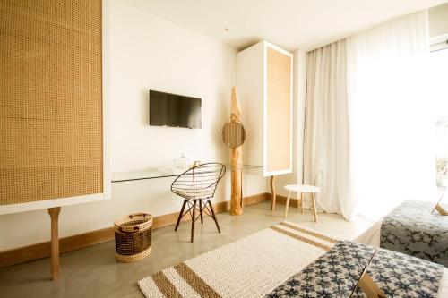 A television and/or entertainment center at Aelia Wellness Retreat