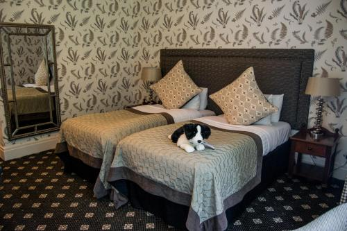 A bed or beds in a room at The Coed-Y-Mwstwr Hotel