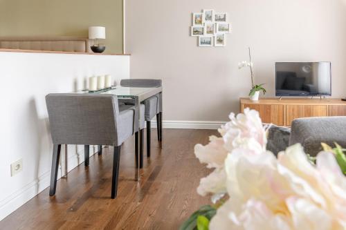Телевизор и/или развлекательный центр в Modern apartment near city centre