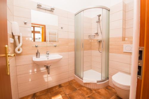Koupelna v ubytování Hotel Morava