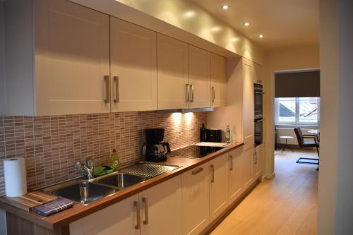 A kitchen or kitchenette at Duplex Appartment Bruges Centre