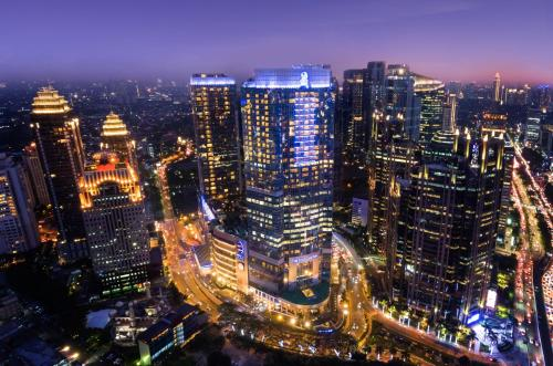 A bird's-eye view of The Ritz-Carlton Hotel Jakarta Pacific Place