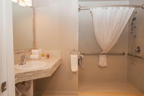 A bathroom at Monarch Motel