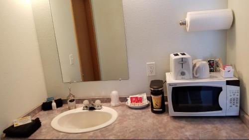 A bathroom at White Willow Motel