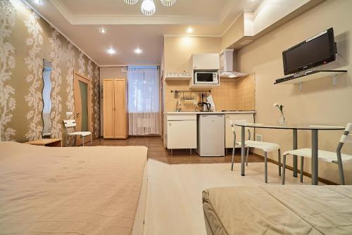 Кухня или мини-кухня в Apartment near Academy of Arts and Blagovechensky bridge