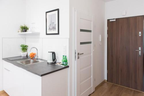 A kitchen or kitchenette at Saline Apartments