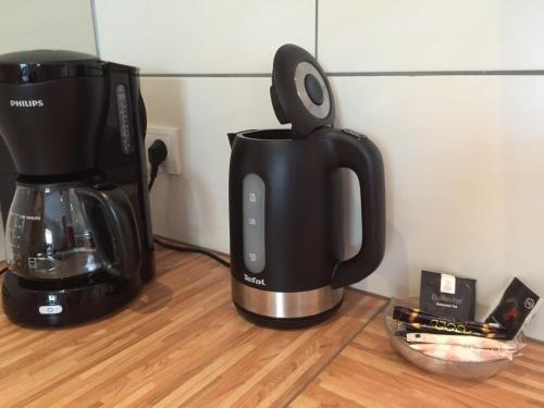 Coffee and tea making facilities at Ferienhaus Burgblick Brueggen