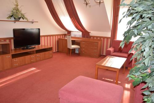 Televízia a/alebo spoločenská miestnosť v ubytovaní Penzion na Potočnej