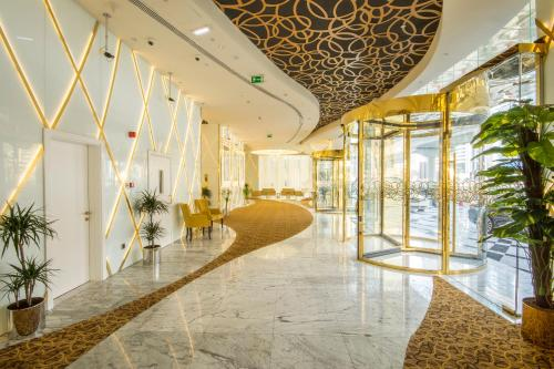 The lobby or reception area at Gevora Hotel