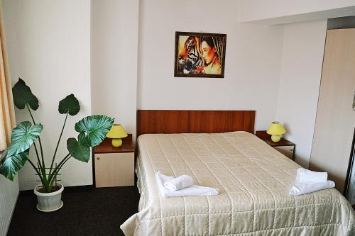 A bed or beds in a room at Family Hotel Miglena