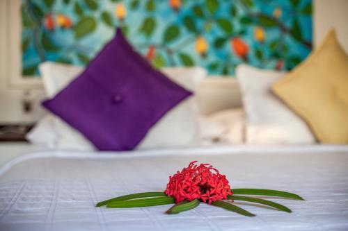 Een bed of bedden in een kamer bij Sombra e Água Fresca Resort