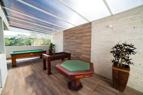 A billiards table at Serra Madre Hotel