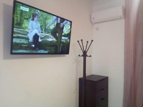 Un televizor și/sau centru de divertisment la Comfortable inexpensive apartmets near metro